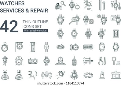 Time and clock icons set. 42 icons in flat minimalistic line style with editable stroke, containing such icons as calendar, solar watch, watchmaker, watch disassembly, repair and much more.