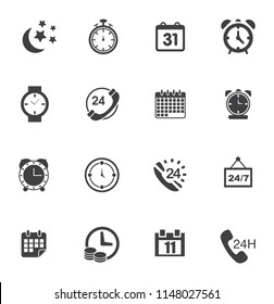 Time clock icons set - alarm & timer sign and symbols