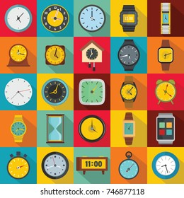 Time and clock icons set. Flat illustration of 25 time clock vector icons for web