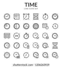 Time and clock icons. Set line icons of time. Collection of time and clock thin line icons