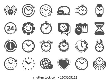 Time and clock icons. Timer, Alarm and Smartwatch. Time management, 24 hour clock, deadline alarm icons. Sand hourglass, calendar and digital smartwatch, timer stopwatch. Quality set. Vector