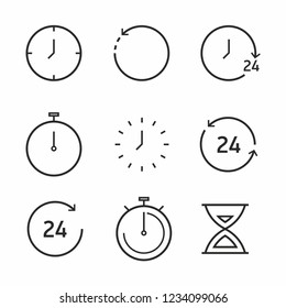 Time and clock line icon set. Vector  illustration