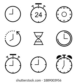 Time and clock line icons set.  Time and clock vector collection