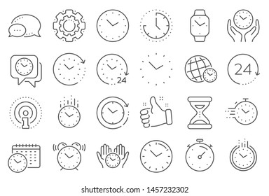 Time and clock line icons. Timer, Alarm and Smartwatch. Time management, 24 hour clock, deadline alarm icons. Sand hourglass, calendar and digital smartwatch, timer stopwatch. Line signs set. Vector