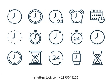 Time and clock line icons. Vector linear icon set.