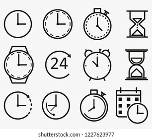 Time and clock line icons. Vector linear icon set
