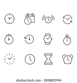 Time and clock linear icons set time management Timer, speed, alarm, recall, time management, calendar and more, time collection, clock, stopwatch, simple outline vector icon for web
