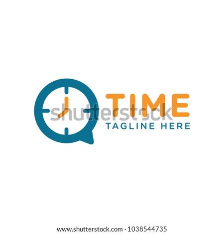 time clock logo design template stock vector royalty free
