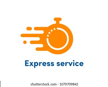 Time clock logo for fast delivery. Vector stopwatch icon for express service