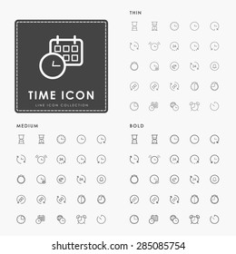 time and clock on thin, medium and bold line icons concept