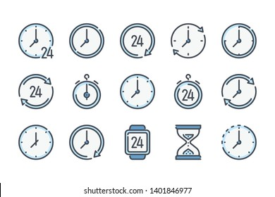 Time and clock related color line icon set. Watch and timer furniture colorful linear icons. Time management flat color outline vector signs and symbols collection.