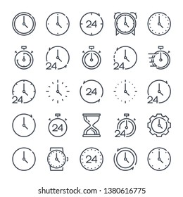 Time and clock related line icon set. Alarm and timer linear icons. Hourglass and countdown outline vector sign collection.