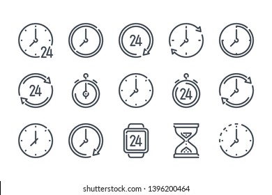 Time and clock related line icon set.