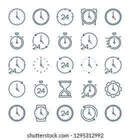 Time and clock related line icons. Alarm and timer vector linear monocolor icon set. Isolated icon collection on white background.