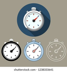 Time Clock Stopwatch Vector Icons Set Stock