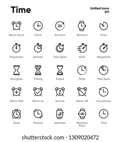 Time and Clock Vector Line Icons on white background. Alarm, Timer, Stopwatch, Hourglass. Pixel Perfect Vector