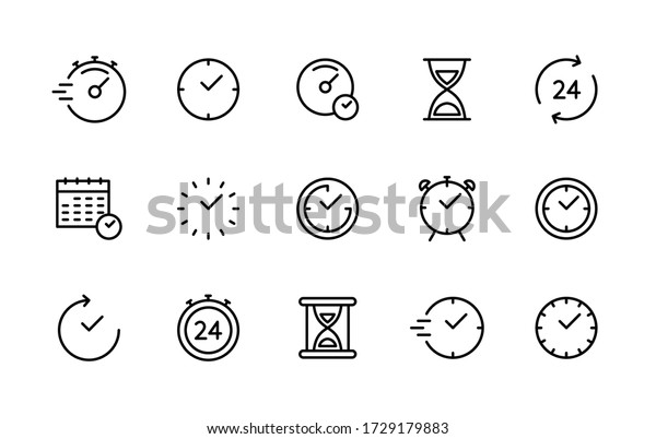 Time and clock vector linear icons set. Time management. Timer, speed, alarm, recovery, time management, calendar and more. Isolated collection of time for web sites icon on white background.