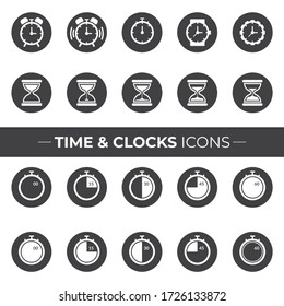 Time and Clocks icons that can be used in your Websites, Flyers, Posters, or in your Infographics.