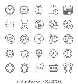 time and clocks thin line icon set, black color, isolated