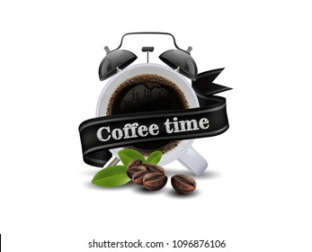 Time to coffee cup of black coffee and coffee bean isolated on white background, copy space for text. vector illustration.
