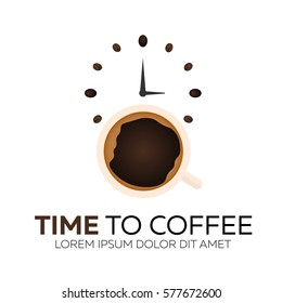 Time to coffee. Coffee watch. Vector flat illustration
