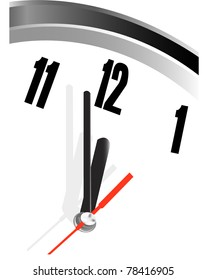 time concept of clock face showing close to twelve or midnight