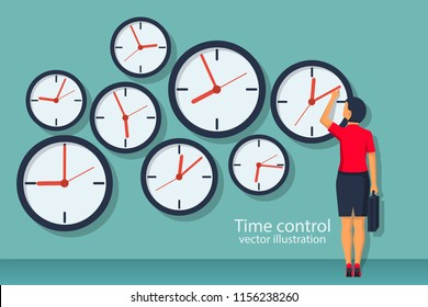 Time control concept. Organization of process. Vector illustration flat design. Isolated on background. Businesswoman standing at wall with clock adjusts time.