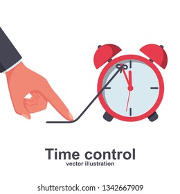 Time control. Deadline concept, business metaphor. Stop clock. Vector illustration flat design. Isolated on white background.  Hand finger holds arrow clock. Pull rope back. Slow down time.