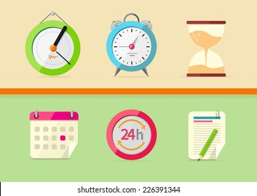 Time and date icons in cartoon design style. Set of watch hourglass alarm calendar notepad