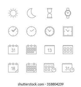 time date icons set