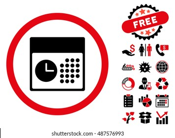Time and Date pictograph with free bonus clip art. Vector illustration style is flat iconic bicolor symbols, intensive red and black colors, white background.