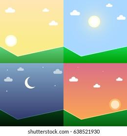Time of day illustration set, vector design
