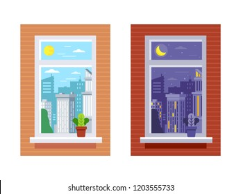 Time of day from window view. Day and night window view. City skyline in day and night with sun and moon. Vector flat illustration set