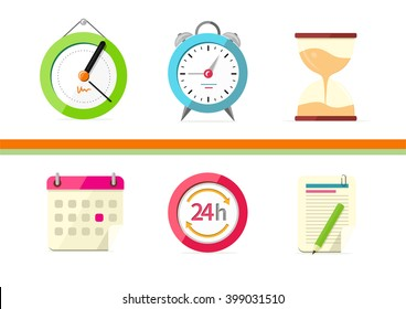 Time design flat concept clock and calendar. Time management, clock and timeline, hourglass and concept time, calendar business and date reminder, plan organizer, vector illustration