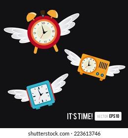 Time design over black background, vector illustration