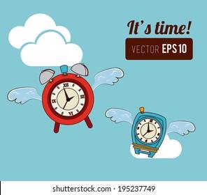 Time design over cloudscape background,vector illustration