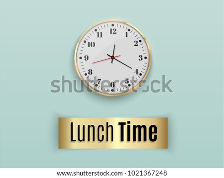 Time Dine Office Wall Clock Template Stock Vector Royalty Free