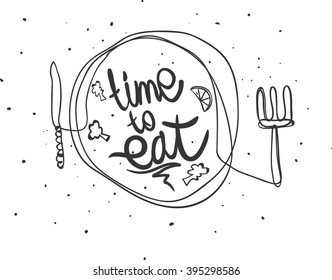 Time to eat. Vector hand draw illustration.