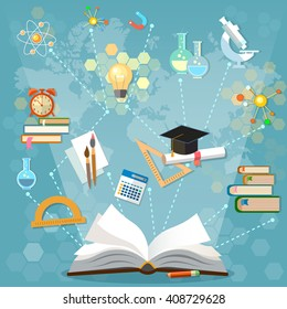 Time to education open book back to school school subjects power of knowledge vector illustration