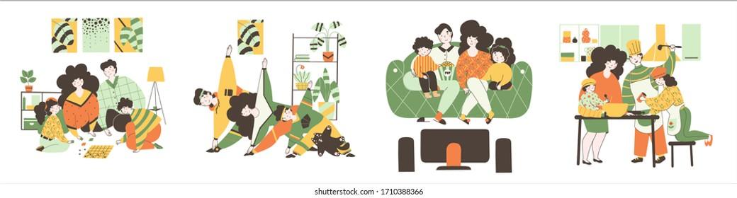 Time family, quarantine classes Isolated flat vector illustration.