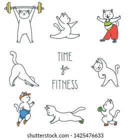 Time for fitness. Illustration of cute white cats doing exercises isolated on white background. Vector 8 EPS.