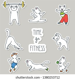 Time for fitness. Stickers set. Illustration of cute white cats doing exercises. Vector 8 EPS.