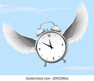 Time Flies, a flying alarm clock with wings
