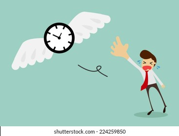 Time is flying away from sadness businessman,vector illustration