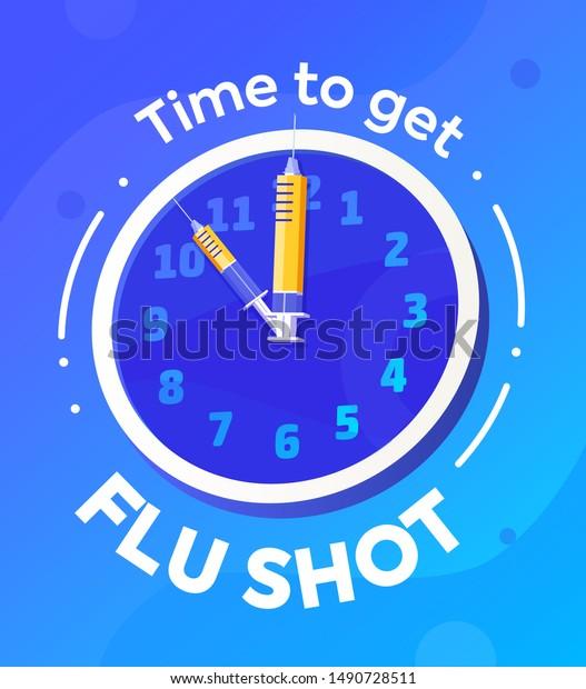 Time Get Flu Shot Jab Alarm Stock Vector Royalty Free 1490728511