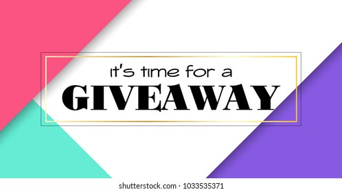 Time for giveaway. Vector banner template for social media promotion. Social media link size