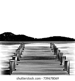 It's time to go fishing, or maybe take a boat ride. This vector illustration of a boardwalk  type dock, done in a classic pen and ink style, is perfect for your landing, pier, or swimming hole.