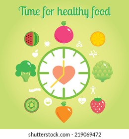 Time for healthy food info graphic clock. Modern vector illustration and design element
