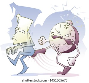 Time to hurry up. Dissatisfied character gets kick his ass by ringing alarm clock. Vector illustration.