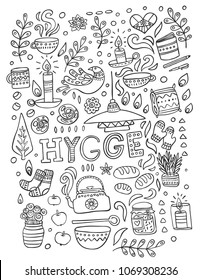 Time to Hygge. Hand drawn vector coloring page about danish living concept.